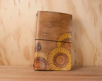 Fauxdori Journal Cover - Leather Midori Style Travelers Notebook in the Celestial Pattern with Sunflowers, Stars and Butterflies - Brown