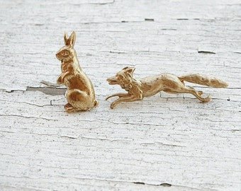 SALE woodland wonders - golden fox and rabbit brooch pin set