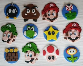 Super Mario Bros. Nintendo edible fondant cupcake toppers