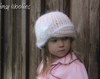 CROCHET PATTERN: 'Vintage Twist', Crochet hat, Fabric Flower