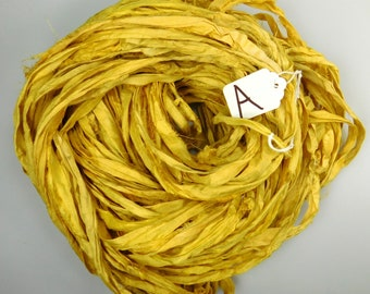 Sari silk Ribbon, Recycled Silk Sari Ribbon, yellow sari ribbon, weaving supply, rug making supply, knitting supply, crochet supply