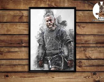 Ragnar Lodbrok poster Vikings wall art home decor print