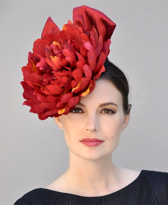 Kentucky Derby Hat, Kentucky Derby Fascinator, Ascot Hat, Wedding Fascinator Hat, Red Fascinator, Derby Hat,