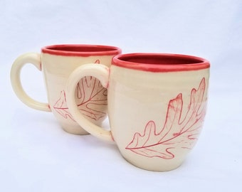 pottery coffee mugs (11 oz) impressed white oak leaf in red - handmade pottery, ceramic mug, pottery teacup, ceramic tea cup