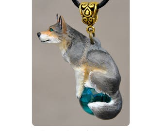 Forest Wolf - Collectible Hand Painted Forest Wolf Canine Dog Coyote Necklace Pendant Ornament Sculpture