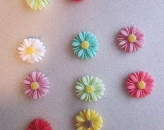SALE - Mixed Variety of Resin Flower Cabochons 13x4mm 8 Cabochons