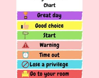 Printable Behavior Chart for children--Instant download, behaviour management, classroom management