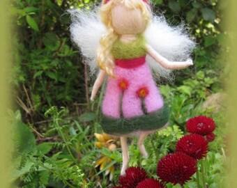 Lia - Needle Felted Wool  fairy girl , Flower fairy, Waldorf inspired fairy doll, wool