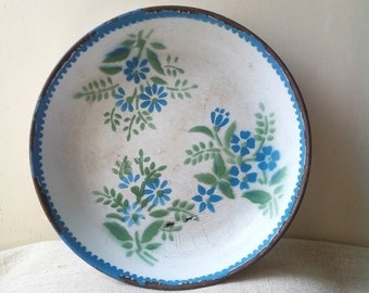 20%Off Kitchenalia - vintage white blue enamel serving plate with forget me not flowers blue margin- enamelware cottage chic