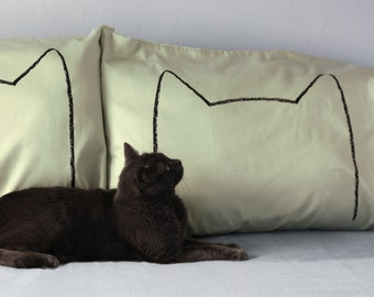 Green Cat Nap Pillowcases, Mothers Day gift, cat mom, modern cat bed, greenery, cat lover gifts, his her pillow cases, funny pillowcases