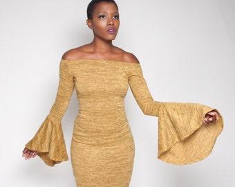 Off shoulder bell sleeve sweater dress