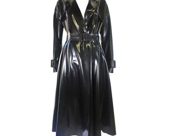 Latex Rubber Long Trench Coat -Madonna Trench