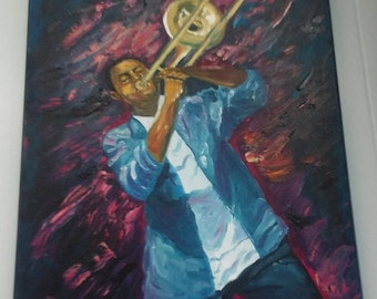 Oil Painting of a New Orleans Trombone Horn Player