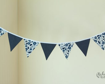 NAVY BLUE floral polka dots bunting, wedding decor, party decor, home decor, tea party decor, pennant banner, bunting flags, nursery decor