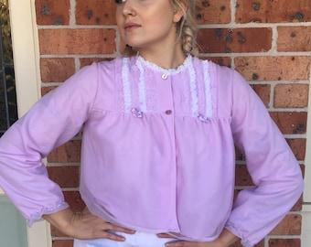 1950s purple all nylon 'Frason Lingerie' bed jacket