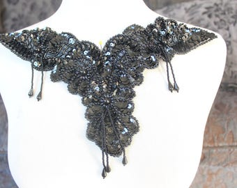 Cute embroidered  and beaded organza  applique  black  color