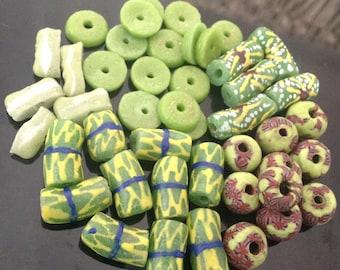 Light Green Themed Bead Set, Light Green Beads, Krobo Beads, Mix Beads, Recycled Glass Beads, African Beads, Tribal Beads