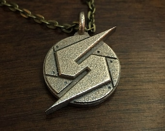 Metroid Screw Attack Stainless Steel 3D Printed Jewelry Pendant