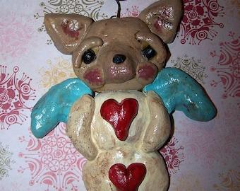 Folk Art Whimsical Chihuahua Dog Angel Snow Angel Ornament Ooak