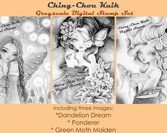 Kimono Fairy Set - Greyscale PRINTABLE Instant Download Digital Stamp /  Fantasy Moth Flower Girl Art by Ching-Chou Kuik