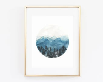 Mountain Decor | Circle Mountain | Round Decor | Rustic | Watercolor | Forest Watercolor Art Print | Tahoe Donner | Utah Mountains | Modern