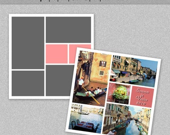 "Photo Storyboard, Photo Collage Template, Photoshop Template 12x12"" - Nr.6 - Instant Download - Instagram Template"