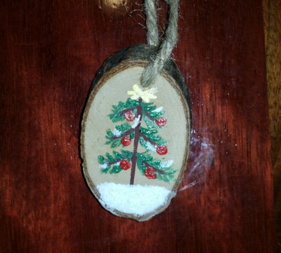 Christmas Ornament Hand Painted Wooden Oval Christmas Tree