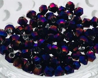 Crystal Bicones-Metallic Purple-Multi Size