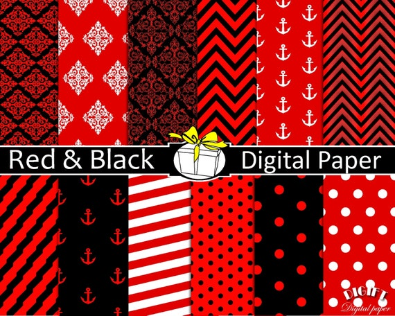 Red and Black digital paper Red decor Red and black wedding
