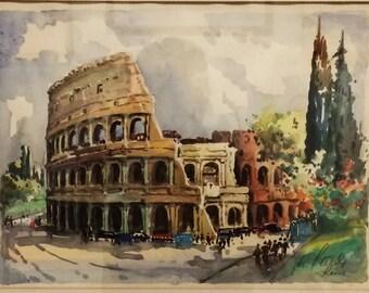 Stunning Rome Coliseum in Ruins Original Watercolor