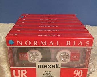 Maxell blank casette tapes sealed unused vintage seven (7) pack original packaging unopened 90min normal bias iec type i