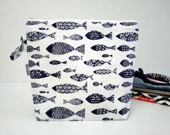 Large wet bag, nappy bag, travel bag, swim bag - swimming fish