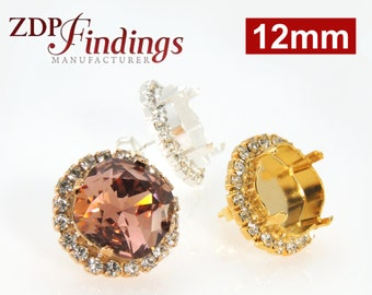 2pcs x Square 12mm Bezel Post Earrings For Setting with Clear Crystal Rhinestones fit Swarovski 4470 - Choose your Finish (POSQ12CRYV)