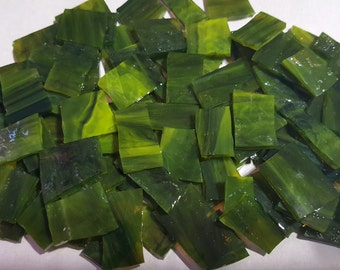 """Mosaic Tiles 100 1/2 """" DARK GREEN LIME Swirl Stained Glass Mosaic Tile"""
