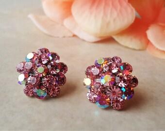 Hot Pink Stud Earrings.Crystal.Post Earrings.Jeweled.Silver.Bridal.Colorful.Fushia.Multi colors.Bridesmaid.Vintage.Dainty.Gift.Handmade.