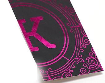 1000 Business Cards - pink metallic foil stamped on silk laminated stock - 16 PT matte - custom printed