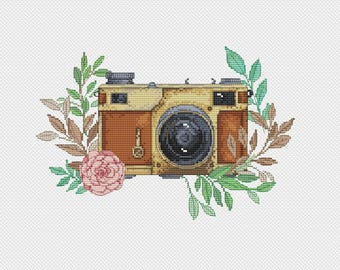 Retro camera Cross stitch PATTERN, camera with flowers, dmc embroidery