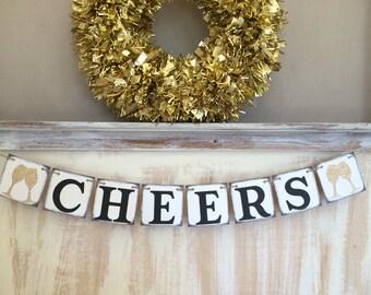 Cheers Banner,Happy New Year Banner,Cheers Garland,Cheers Sign,Cheers 2018,New Years Eve Banner,New Year Decor,New Year Prop,Wedding Banner