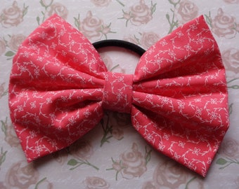 Coral and White Flower Print Fabric Hair Bow