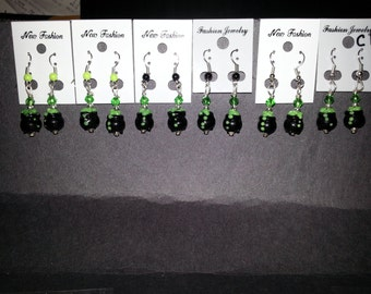 Halloween Lamp-work  Earrings (Corn Candy,Ghost,Cats,Cauldrons,Fangs)