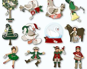 Twelve Merry Days:  12 Days of Christmas Digital Images