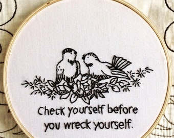 Vintage birds with issues/Check Yourself  - hand embroidery hoop art
