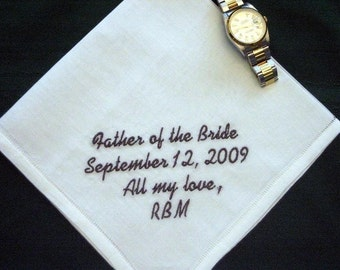 Men's Linen Father of the Bride Handkerchief,  Personalized Wedding Handkerchief, pocket square   32S
