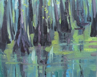 oil painting of Cypress swamp , Southern landscape , green blue and gray , Cypress trees  , landscape , small painting , oil painting , WET