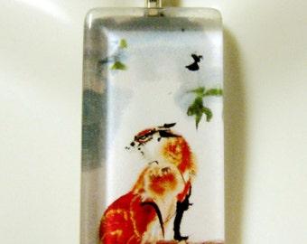 Watercolor fox pendant and chain - WGP12-003