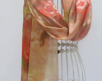 Unique hand painted silk scarf, hand painted silk scarves, brown scarf, unique gift scarf, gift for her, gift scarf,  Silk scarf, scarf