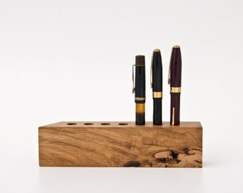 Unique Wood Fountain Pen Holder Office Accessory One of a kind 024