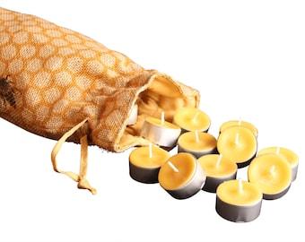 One Dozen Pure Beeswax Tea Light Candles, 12 Bees Wax Tea Light Candle Refills, Beeswax Candles, Pure Beeswax Tealights