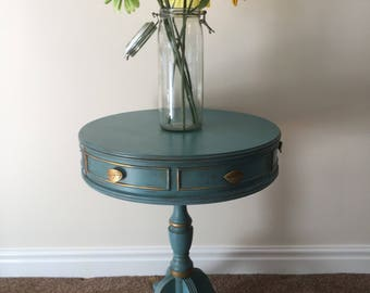 Drum table, side table, end table, nightstand, coastal decor (Annie Sloan Chalk Paint)