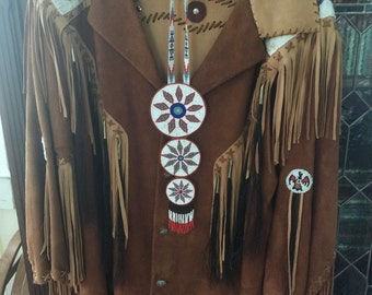 signed Sam 2 Feathers suede buckskin beaded,horsehair,fringed coat,circa 1990s